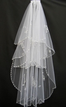 Cheap 2015 Real Picture White Ivory USA Soft Tulle Wedding Veils Free Comb Sequined Beaded Crystal In Stock(China (Mainland))