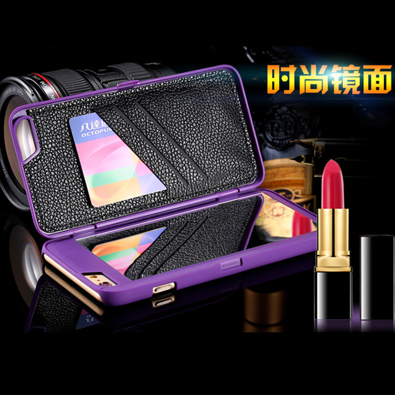 Chic Mirror Case iPhone 6 6s 7 7plus 5 5S SE 6PLUS Card Holders Luxury Hard Flip Women Cover Coque