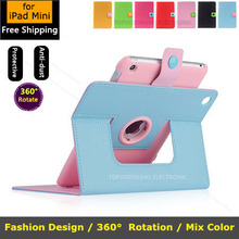 360 rotating leather case for ipad mini 1 2 3 stand bling smart cover for apple ipad mini case lovely(China (Mainland))