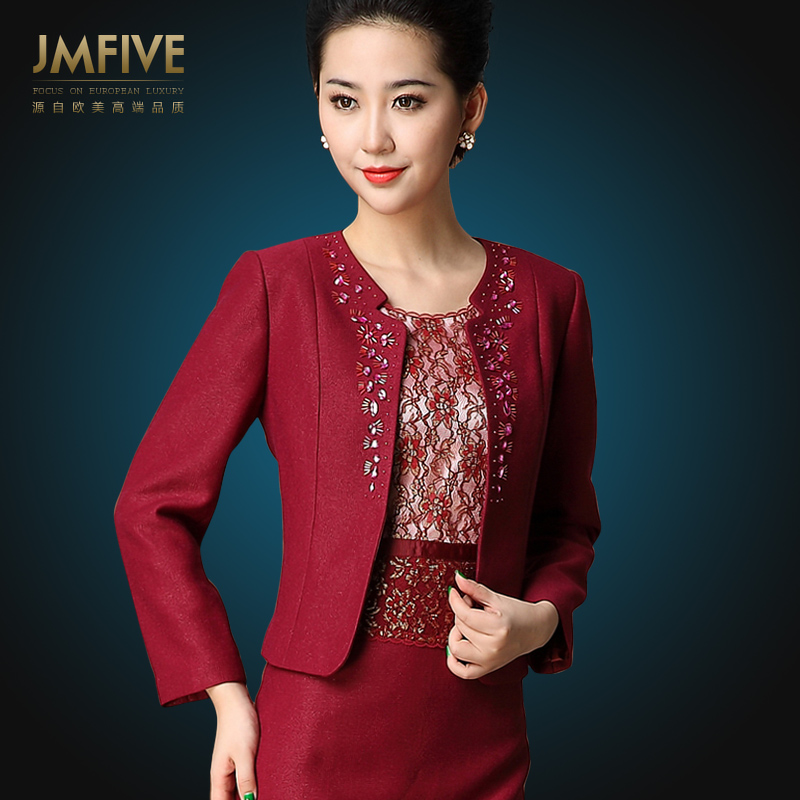Woolen jmfive new brand women middle aged spring two piece suit dress vintage elegant autumn and winter clothing mother  twinsetОдежда и ак�е��уары<br><br><br>Aliexpress