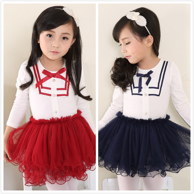 2015 New Toddler Girl Kids Spring Summer Long Sleeve Cotton Lace Princess Dress easter tutu Girls Baby Dresses(China (Mainland))