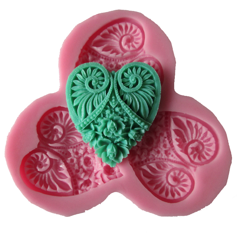 free shipping new arrived heart Flowers 3D fondant silicone cooking tools wedding decoration molds candy Sugar Craft Soap(China (Mainland))