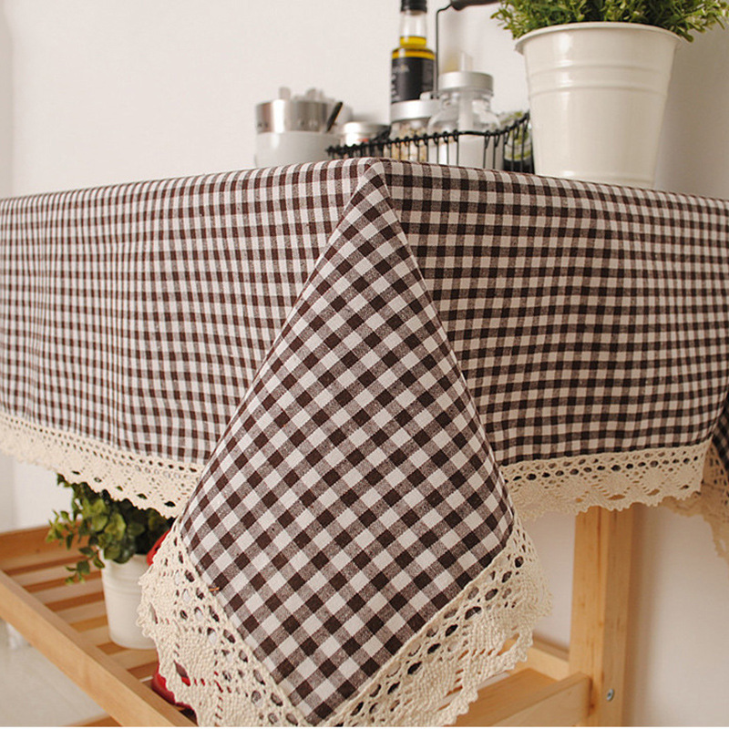 HomeTextile Table Cloth Plaid Style Cotton/ Linen Rectangle Lace for Table/air Conditioning/ Refrigerator Table Cloth 140*160cm(China (Mainland))