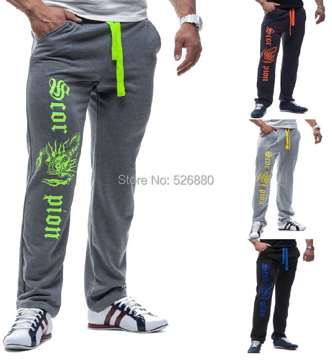 Autumn Winter Clothes New Joggers Elastic Waist Mouth Personality Scorpion Letters Printed Men Casual Long Pants Trousers - Fashion No. 1 shop store