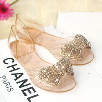 Специальный новый летний корейский бисером горный хрусталь бабочка узел желе обувь Плоский прозрачный кристалл женская обувь сандалии