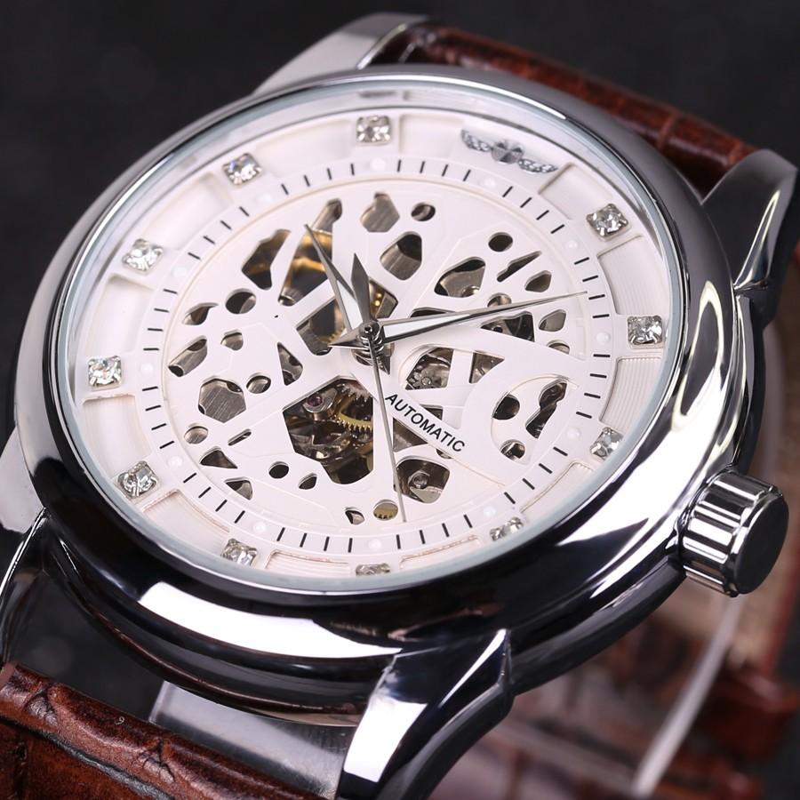 winner royal diamond design black gold watch mens watches top brand luxury relogio male skeleton. Black Bedroom Furniture Sets. Home Design Ideas