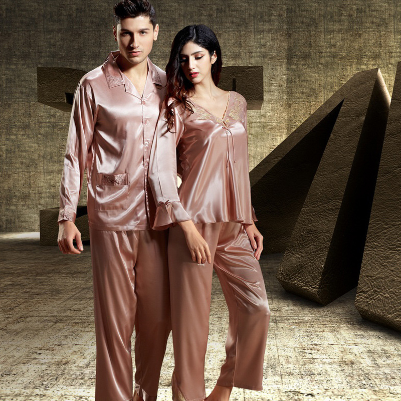 Brand Luxury Couples Silk Pajamas Sets Men's Sleepwear Pyjamas Mens Faux Silk Satin Pajamas Women Sleepwear Pajamas Robes Gifts