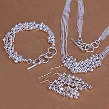 925 sterling silver jewelry silver set wedding ceremony ceremony items multi simple balls pendant scorching necklace&bracelet&earrings silver three set CS137