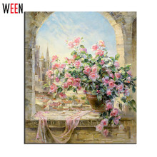 Frameless Window Flowers Scene DIY Painting By Numbers Kits paintings for living room wall Coloring Painting By Numbers(China (Mainland))