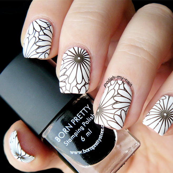 Geometric Reverse Stamping Nail Art Born Pretty Review: Flower Theme Nail Art Stamp Template Image Plate