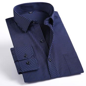 Осень мужчины в полоска рубашки мужчины полный рукав свободного покроя платье рубашка ...