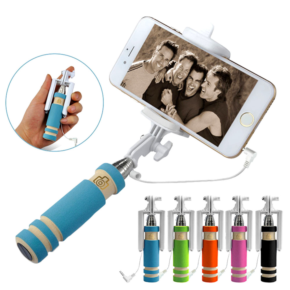 Portable Mini Folding Mobile Phone Wired Self Selfie Sticks For Iphone