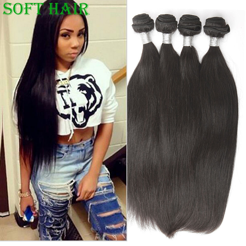 Queen Hair Soft and Smooth Straight Raw Indian Temple Human Hair Weave Unprocessed Remy Virgin Indian Straight Hair Bundles(China (Mainland))