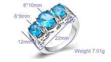 Big Rings for Women Sapphire Ruby Amethyst Jewelry 925 Sterling Silver Vintage Rhinestone Ring Wedding Accessories