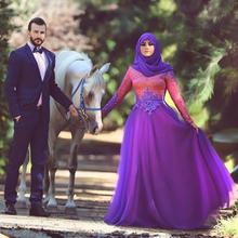 Muslim Dress with Long Sleeve A-Line Saudi Arabian Floor-Length Purple Appliques Formal Dress 2016(China (Mainland))