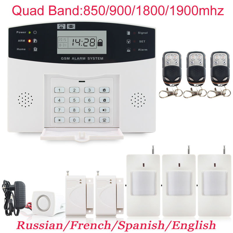 New PG-500 433mhz Door Window GSM Alarm System for Home Security Burglar LCD Display Wired Siren with 3x Metal Remote Control(China (Mainland))