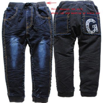 3675 straight winter warm boy girl soft kids jeans fleece boys girls navy blue+black casual pants trousers