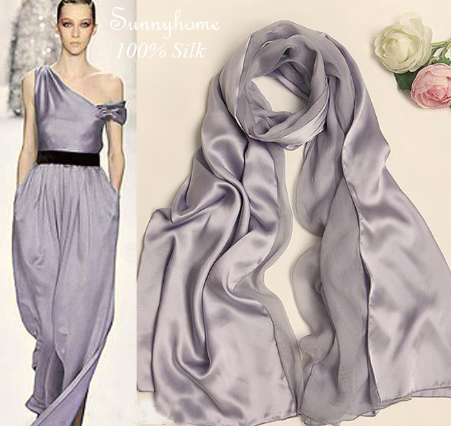 Fashion Brand Design Silk Scarf Women Silver Pure 100% silk shawls Patchwork Scarves Large Grey Winter Formal Party Pashmina Одежда и ак�е��уары<br><br><br>Aliexpress