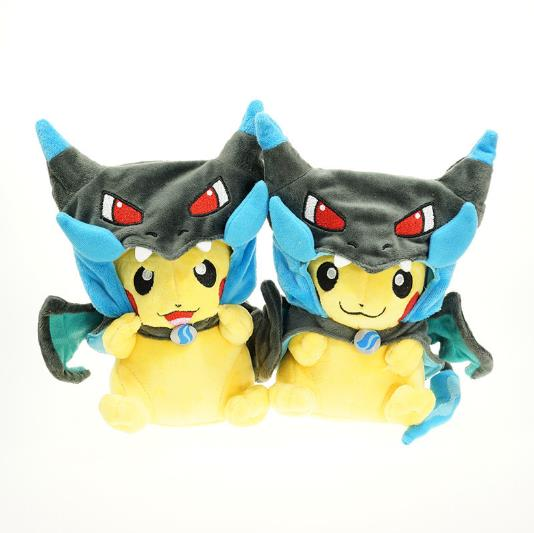 Wholesale Pokemon Plush Toys Pikachu Fluffy Toys in Charizard Cloak X 30cm Anime Cute Kids Gift for birthday 1019(China (Mainland))