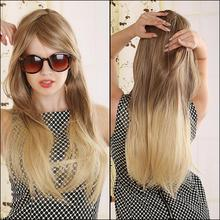 70cm Blonde Ombre Wig Long Straight Cheap Women Synthetic Wig Fashion Natural Hair Women's Brown Wigs For White Women(China (Mainland))