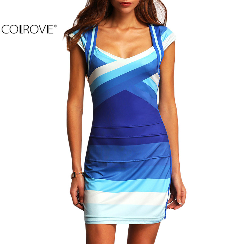 COLROVE Summer Women Clothing 2016 New Arrival Female Sexy Clubwear Multicolor Square Neck Cap Sleeve Ombre Bodycon Mini Dress(China (Mainland))
