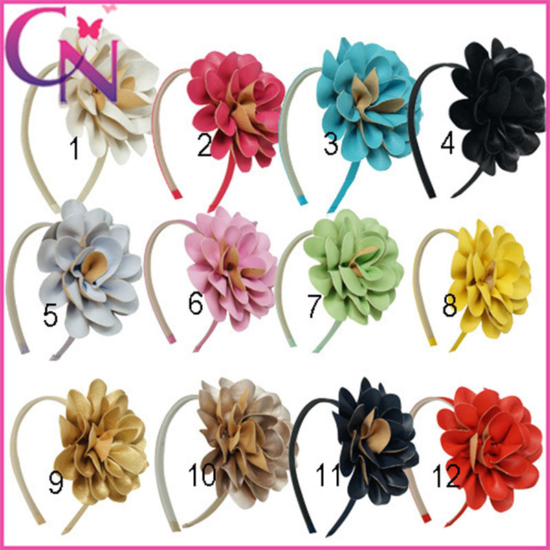 Girls Boutique Leather Flowers Hairband,Children Fashion Solid Hair Band,Flower Headband With Teeth Band For Kids CNHB-14120701(China (Mainland))