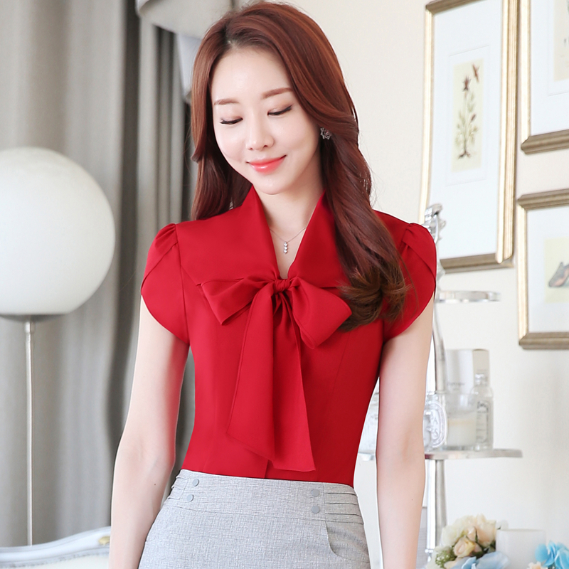 Women Summer Short Sleeve Bow Tie Shirt Blouse Office Lady Business Work Wear Tops Welcome Wholesale(China (Mainland))