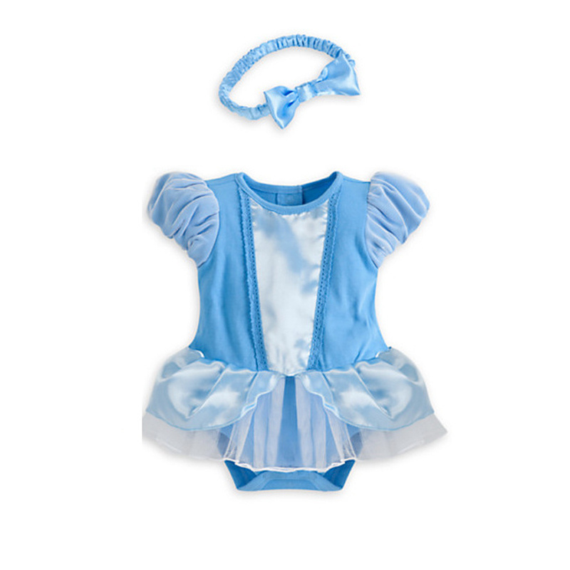 Princess Cinderella style baby girls jumpers with headband adorable baby dress romper DS15(China (Mainland))