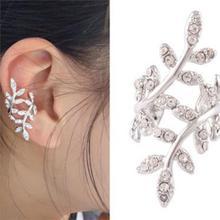 Silver Golden Punk Rock Earring Crystal Leaf Ear Cuff Warp Clip Ear Stud Jewelry For Right Ear(China (Mainland))
