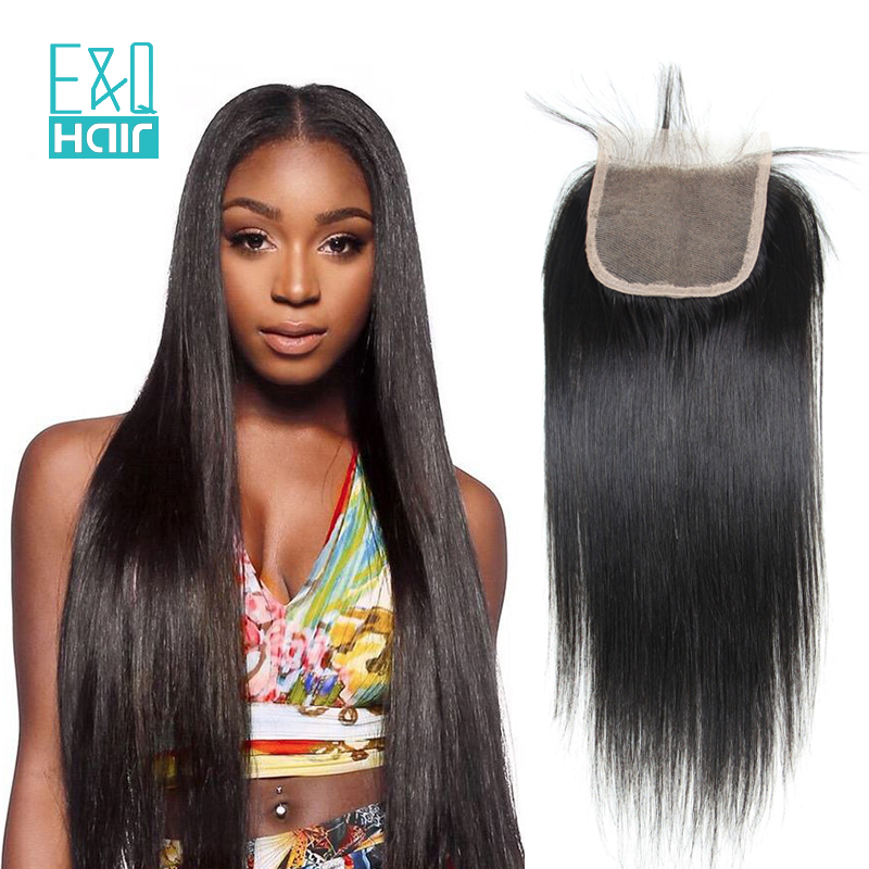7A 4X4 Brazilian Straight Lace Closure Bleached Knots Virgin Human Hair Closure Free Middle 7 Part Top Lace Front Closure Piece(China (Mainland))