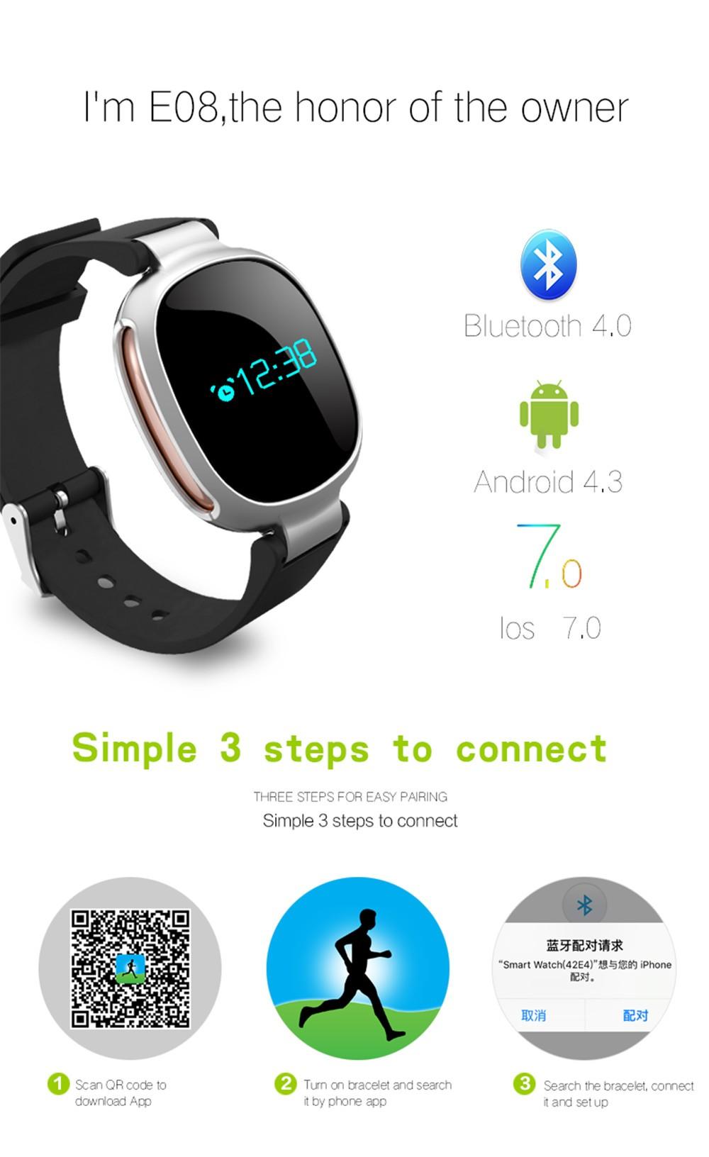 ถูก E08 Bluetooth4.0 S Martbandอัตราการเต้นหัวใจว่ายน้ำตรวจสอบIP67กันน้ำฟิตเนสติดตามป้องกันการสูญหายสมาร์ทIOS A Ndroidสายรัดข้อมือ