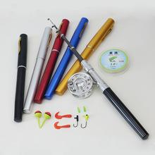 Mini Portable Pocket Aluminum Alloy Fishing Rod Pen Shape Pole Fish Reel Line Soft Bait Hook Float Fishing Tackle Set