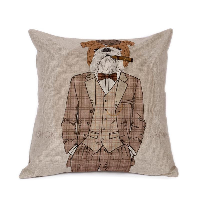 Decorative Home Decor Cushion Cover Throw Pillow Case Cotton Linen Bulldog Dog Gentleman Free Shipping(China (Mainland))