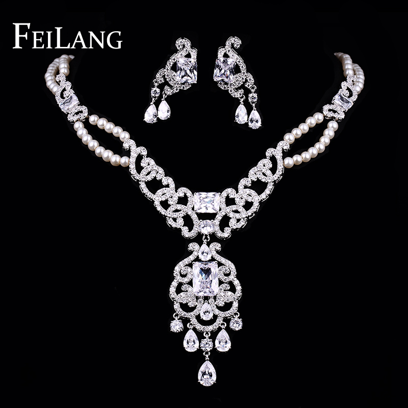 Feilang vintage white gold plated cz diamond and pearl for Diamond pearl jewelry sets