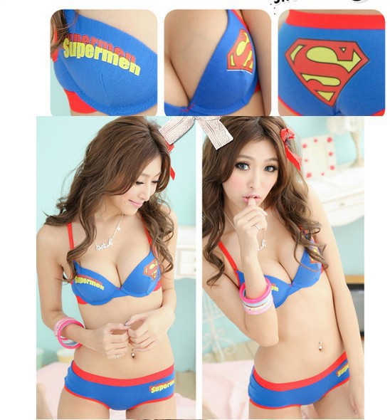 Fashion 2015 Superman 100% Cotton Push Up Bra Underwear Women Sport Bra Brief Sets For Free shipping(China (Mainland))