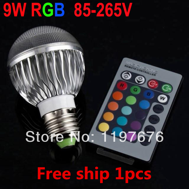 RGB Lamp 1pcs E27 9W Spotlight Remote Control Colorful Changing LED Light Bulb(China (Mainland))