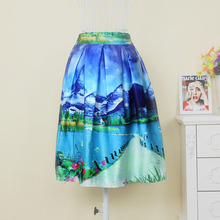 Elastic High Waist Fashion Skirt Spring Summer Style 3 Colors Landscape Waterfall Printed Knee-Length Tutu A-Line Ladies Skirts