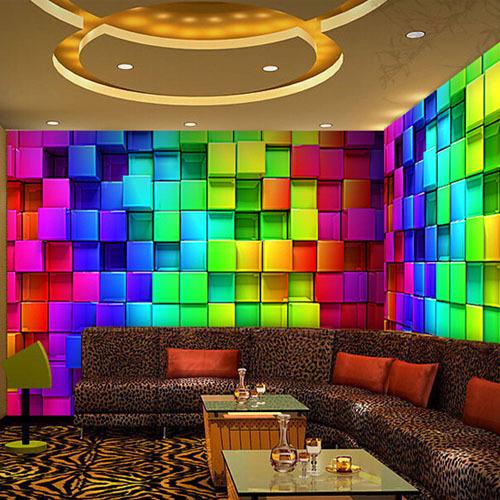 abstract 3d cube wall murals wallpaper reflectorised ktv. Black Bedroom Furniture Sets. Home Design Ideas