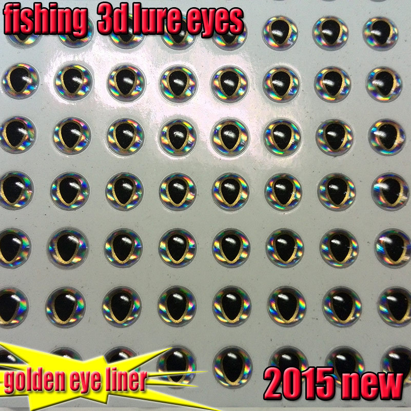 2015new fishing 3d lure eyes golden eye liner fish eyes size:4mm,5mm 6mm quantity:200pcs/lot(China (Mainland))