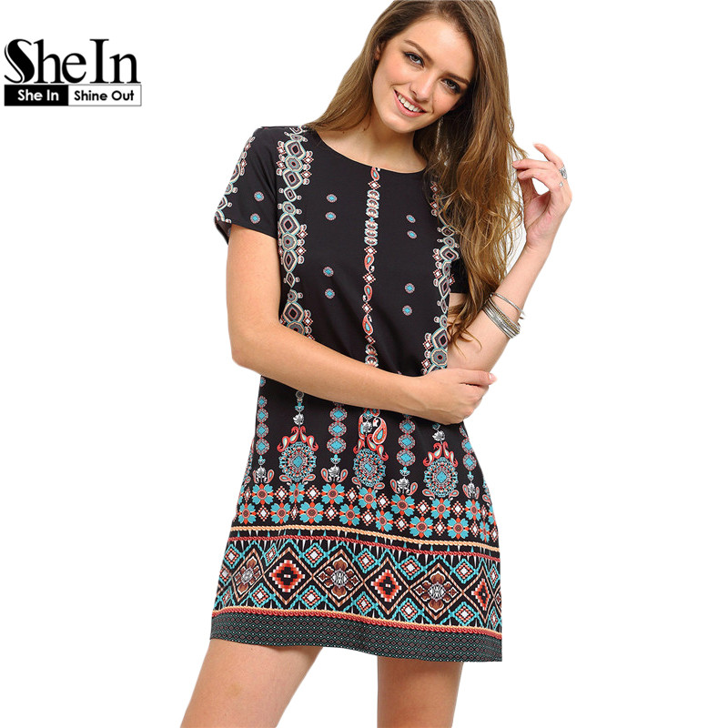 SheIn 2016 Summer Style Black Aztec Print Shift Short Dresses Women Short Sleeve Round Neck Above Knee Vintage Dress(China (Mainland))
