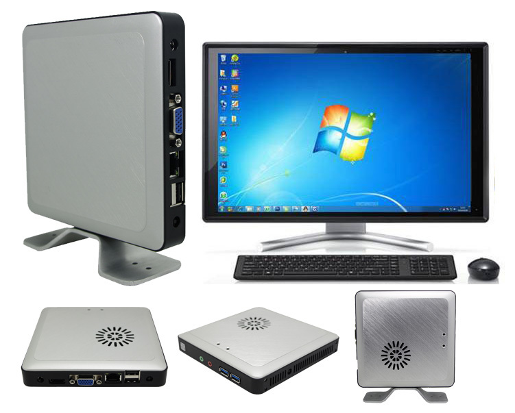 Intel Celeron 1.8GHZ dual Core Windows 7 Fanless Mini PC Office Desktop Computer With 4GB RAM 1TB HDD HDMI USB 3.0 Wifi(China (Mainland))