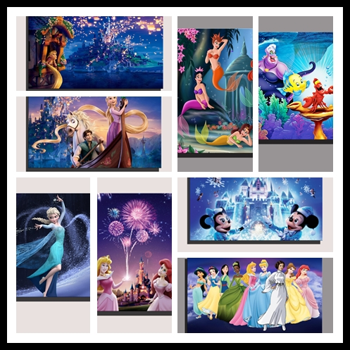 princesses cartoon Beautiful Wall Art Poster stretched framed decor Children's room decorative painting(China (Mainland))