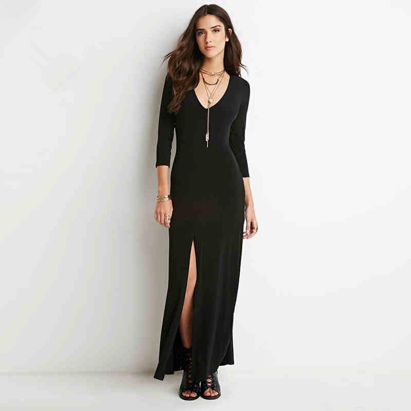 Creative  Dress Autumn Elegant Classy V Neck Patchwork Bodycon Dresses EB333