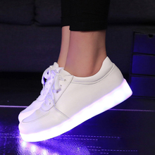 2016 Women Men Footwear chaussure tenis Led Light up yeezy glow Basket Superstar Shoe Luminous With Usb for adult femme feminino(China (Mainland))
