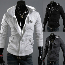 2014Men's top quality New Arrival fashion leisure sport track suit & Sweatshirt slim Men's Hoodies Pullover jacket free shipping