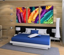 3Panels Free Shipping  fresh look color feather  Modern Wall Painting flower Decorative Art Picture Paint on Canvas Prints(China (Mainland))