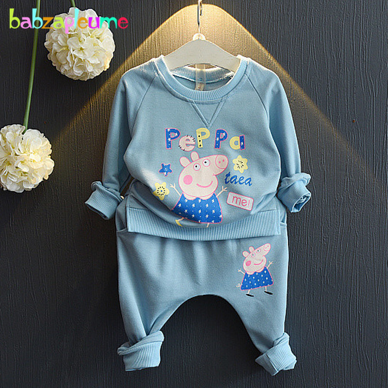 2Piece/Spring Autumn Korean Clothing Store Baby Girls Outfit T-Shirt+Pants Cartoon Casual Sport Suit Children Clothes Set BC1377(China (Mainland))