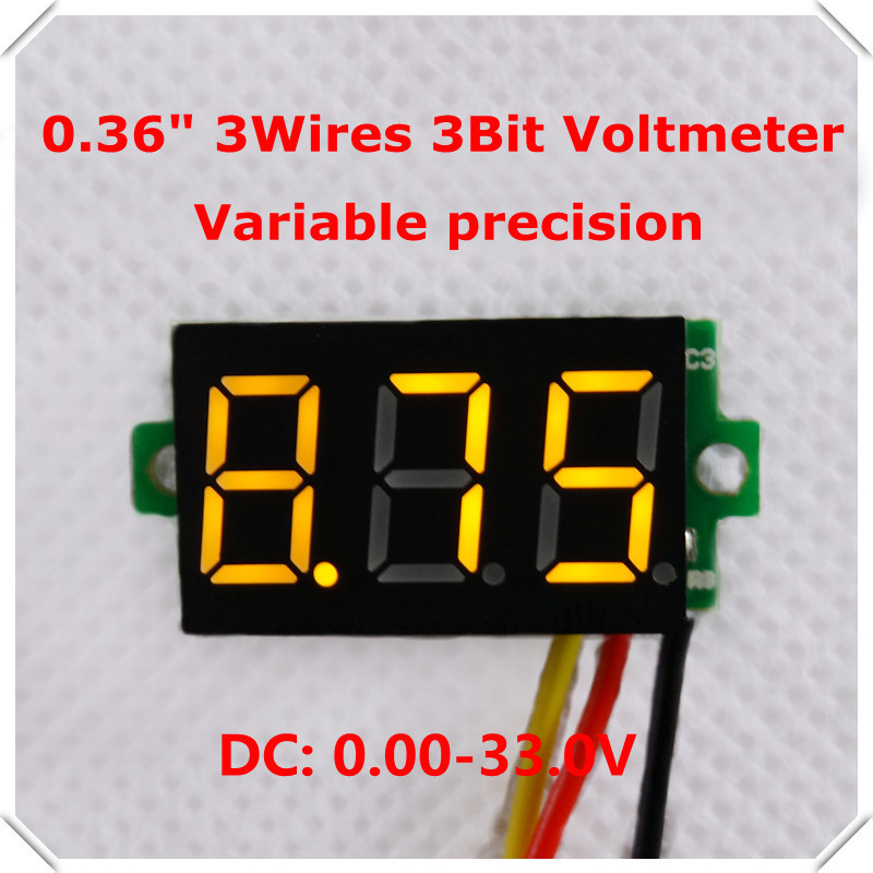 "DC0-33V 0.36"" Digital Voltmeter Three wires 3 Digit Variable precision Voltage Panel Meter Display led Color:yellow [10 pcs/lot](China (Mainland))"