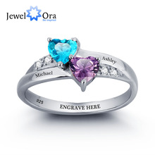Personalized Engrave Birthstone Heart Ring 925 Sterling Silver Classic Cubic Zirconia Ring Free Gift Box (JewelOra RI101781)(China (Mainland))