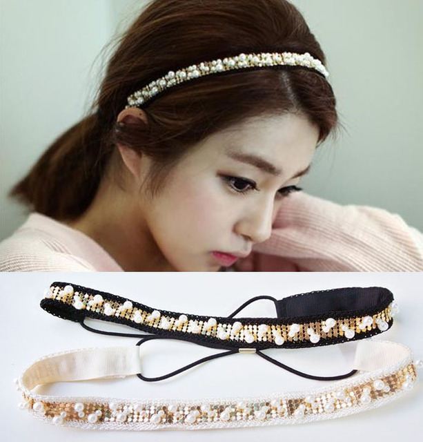 Wholesale 2013 fashion handmade ctton metallic headbands with pearl fashion style hair accessory headbands fashion forwomen